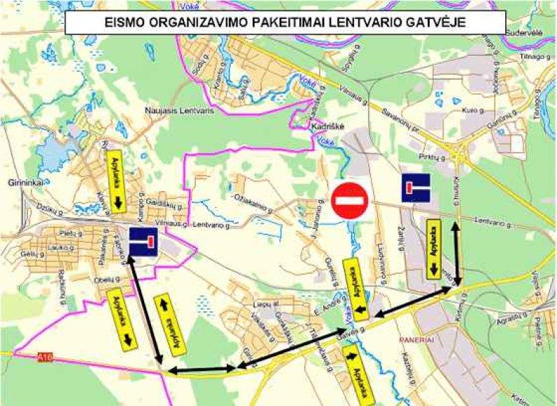 Eismo organizavimo pakeitimai Lentvario gatvėje