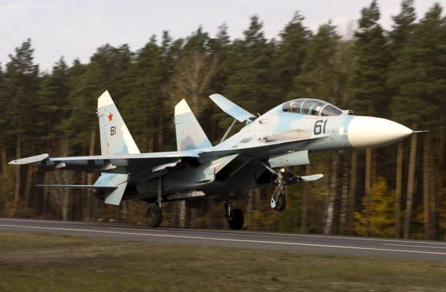 Baltarusių karinių oro pajėgų naikintuvas SU-27