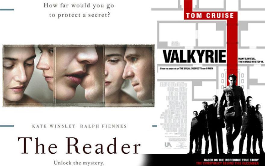 """Filmų """"Skaitovas"""" ir """"Valkirija"""" reklaminis plakatas."""