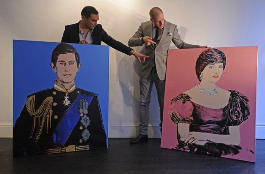 Princesės Dianos ir princo Charleso portretai