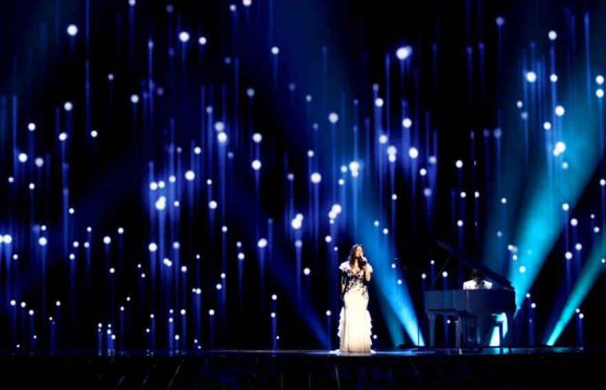 """Evelina Sašenko generalinėje """"Eurovizijos"""" repeticijoje."""