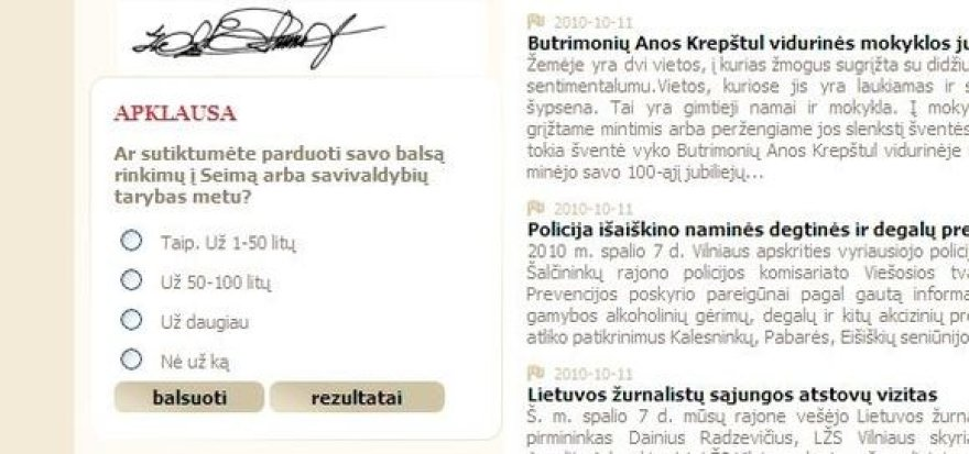 balsavimas savivaldybės tinklalapyje