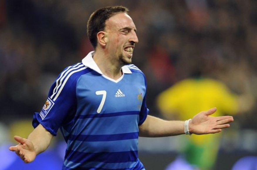 F.Ribery (3 įvarčiai) yra rezultatyviausias prancūzų futbolininkas 2010 metų pasaulio čempionato atrankos turnyre.