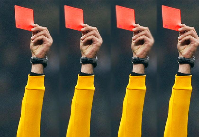 R.Broadley per vienerias rungtynes prieš savo akis išvydo net keturias raudonąsias korteles