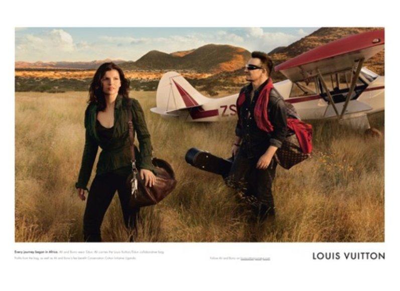 """Bendra """"Louis Vuitton"""" ir """"Edun"""" reklaminė kampanija su """"U2"""" vokalistu Bono ir jo žmona."""