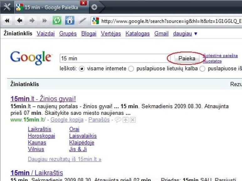 Google paieškos svetainė.