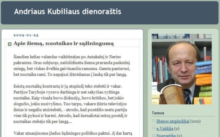 Paskutinį įrašą savo tinklaraštyje A.Kubilius surezgė 2009 metų sausį.