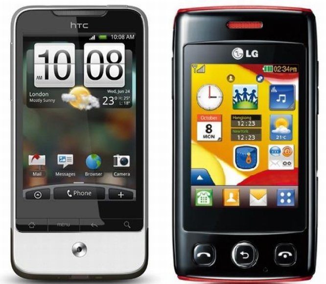 """HTC Legend"" (kairėje) ir LG-T300."