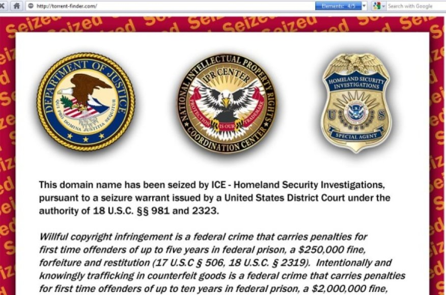 Toks vaizdas pasitinka lankytojus, užsukusius į ICE konfiskuotus tinklalapius.