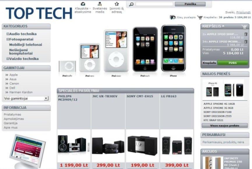 Svetainė Top-tech.lt siūlo įsigyti prekes įtartinai žemomis kainomis.