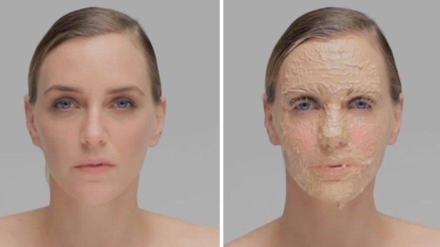 Manekenės Hannelore Knuts veidas per 9 valandas buvo padengtas 365 makiažo sluoksniais.