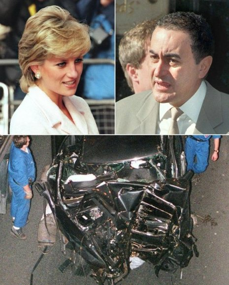 """Princesė Diana ir jos meilužis Dodi al Fayedas žuvo 1997-ųjų rugpjūtį Paryžiuje, po to kai paparacų persekiojamas """"Mercedes"""" automobilis, kuriuo pora važiavo, tunelyje trenkėsi į betonininę pertvarą."""