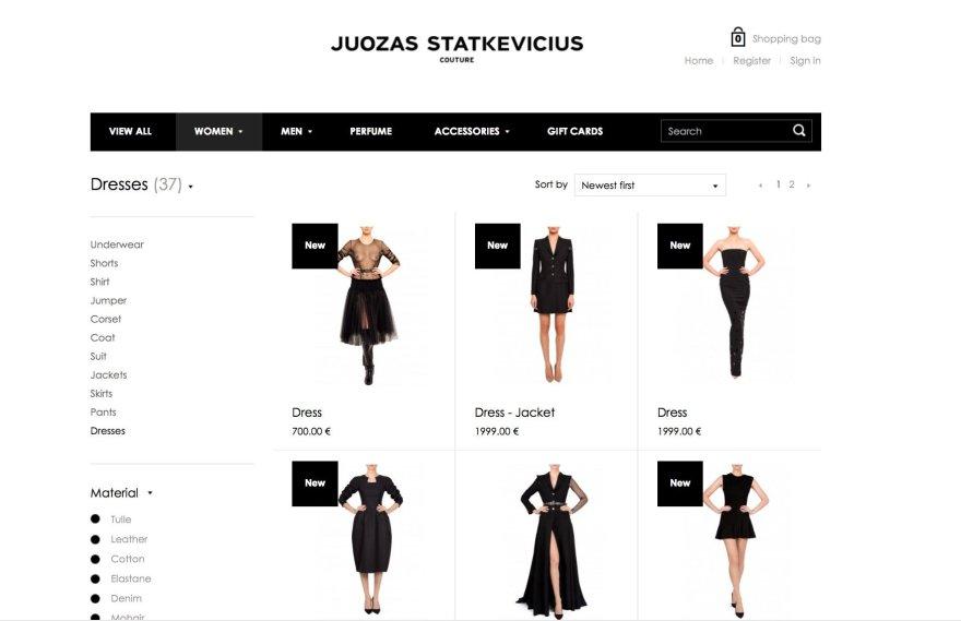 Juozo Statkevičiaus mados namų e-parduotuvės puslapis/Prekės Juozo Statkevičiaus mados namų e-parduotuvėje
