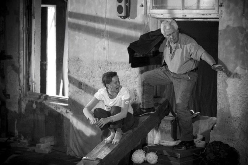 """""""Antigonė Sibire"""" – naujausias J.Jurašo darbas, tačiau jam režisierius ruošėsi kelis dešimtmečius. Nuotraukoje – spektaklio repeticija."""