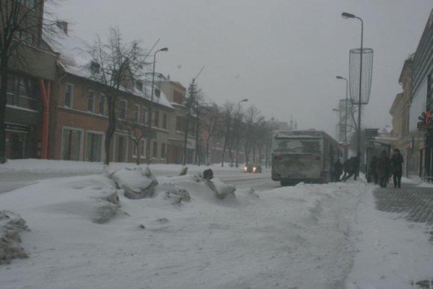 Snieguotos Klaipėdos gatvės.