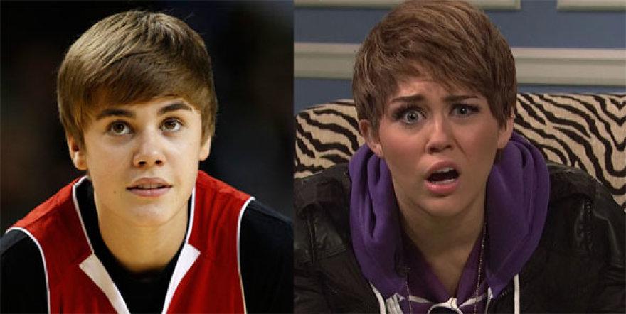 Justinas Bieberis ir Miley Cyrus