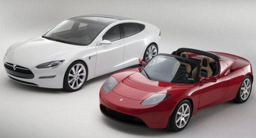 """Tesla Roadster"" ir ""Model S"" automobiliai"