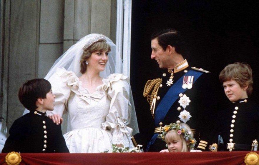 Britanijos princas Charlesas ir Diana vestuvių dieną