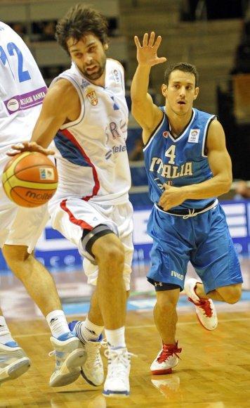 Milosas Teodosic (kairėje) ir Antonio Maestranzi