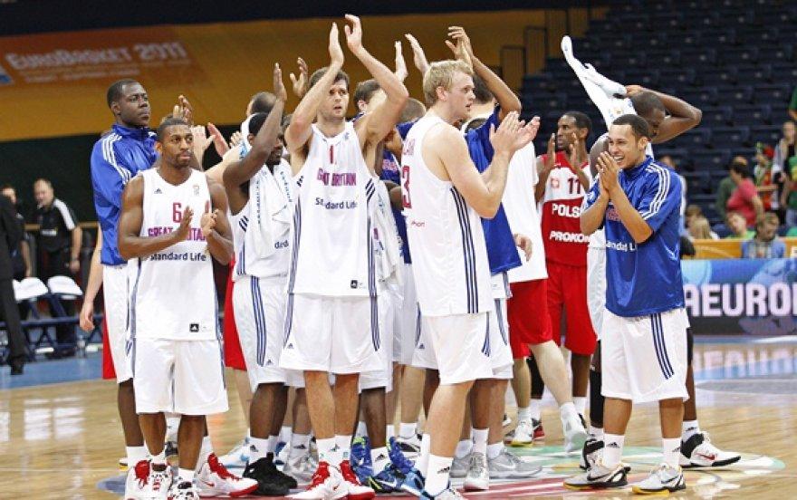 Didžiosios Britanijos krepšininkai po rungtynių su Lenkijos rinktine