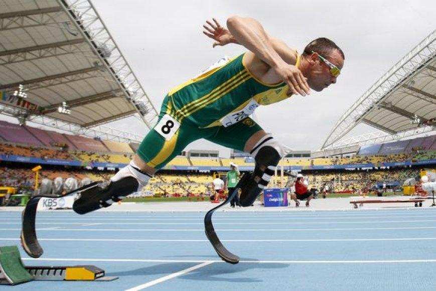 Oscaras Pistorius pirmą kartą dalyvauja pasaulio čempionate