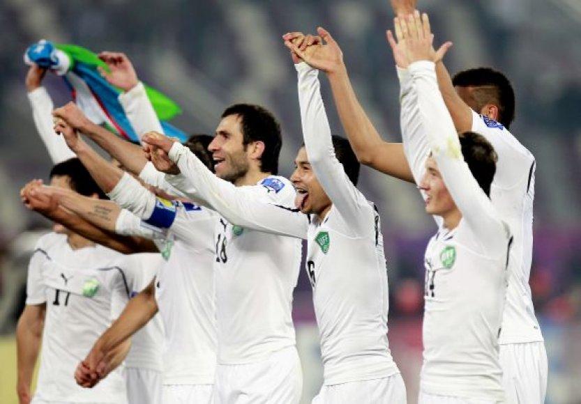 Uzbekistano futbolininkų džiaugsmas