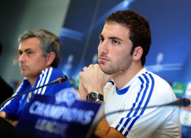 Jose Mourinho ir Gonzalo Higuainas