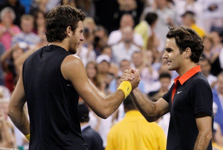 Juanas Martinas del Potro ir Rogeris Federeris US Open finale