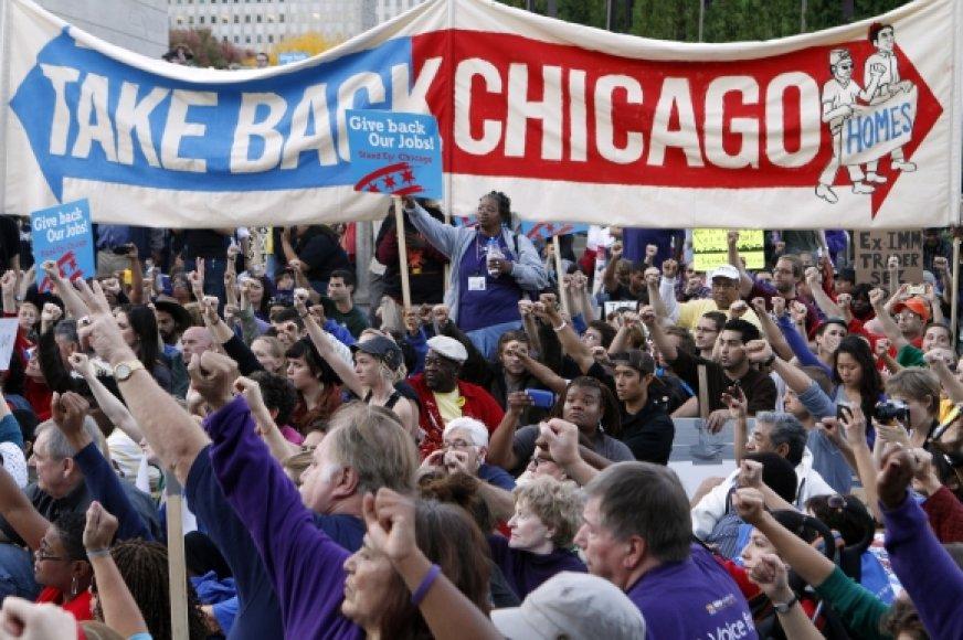 Protesto Čikagoje akimirka