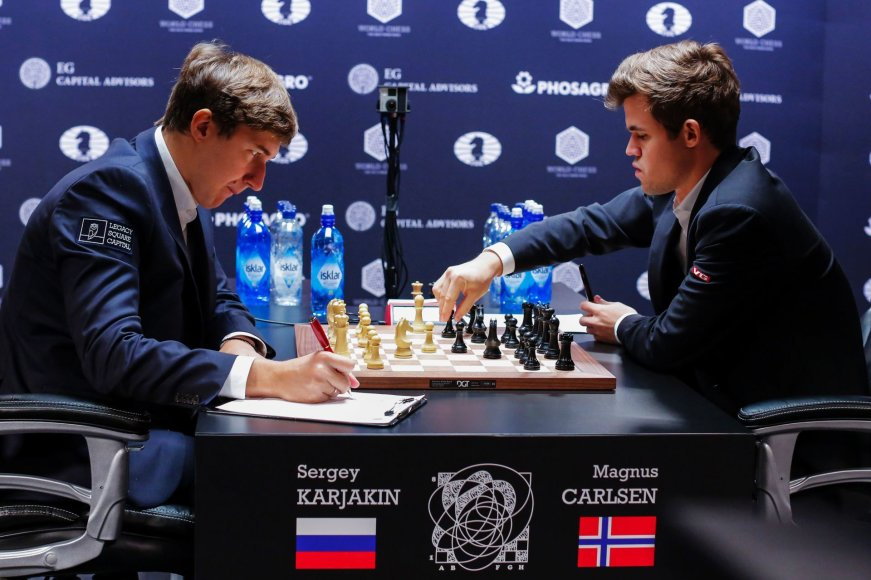 """""""Scanpix"""" nuotr./Kova dėl pasaulio čempiono titulo: Magnusas Carlsenas – Sergejus Karjakinas"""