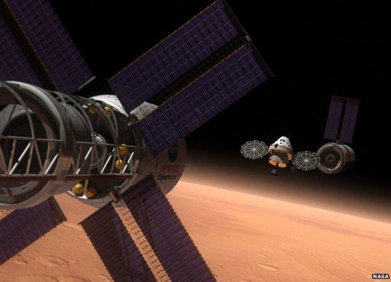 Erdvėlaivis Orion kosmose menininko akimis