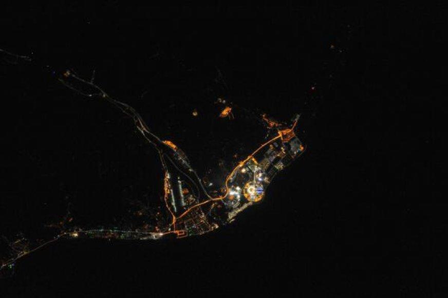 Sočio olimpinis miestelis iš kosmoso.