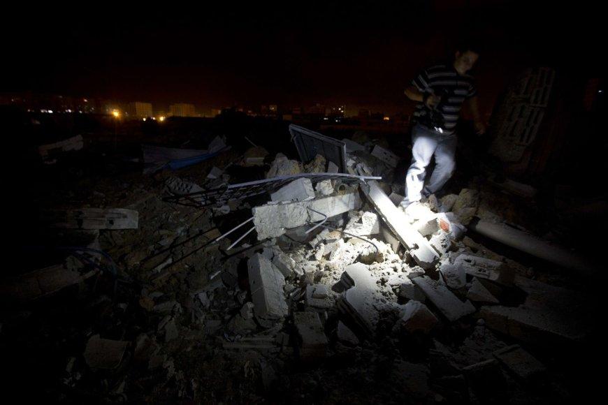 Izraelio oro atakų padariniai Gazos mieste