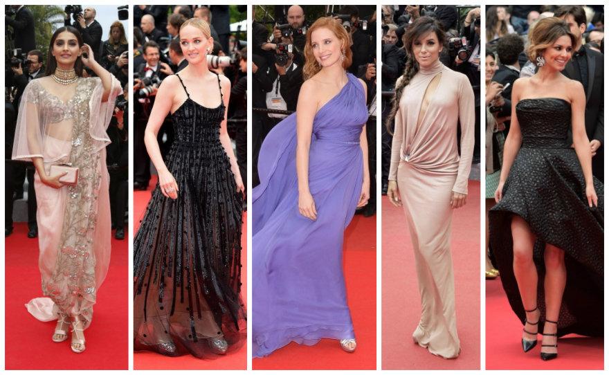 Kanų kino festivalio viešnios: Sonam Kapoor, Jess Weixler, Jessica Chastain, Eva Longoria ir Cheryl Cole