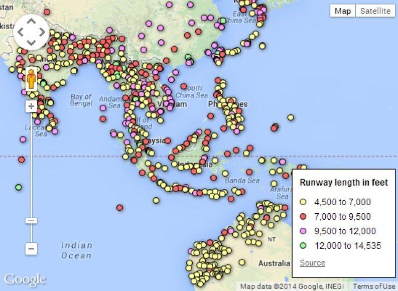 """Žemėlapis, kur galėjo nusileisti """"Malaysian Airlines"""" lėktuvas"""