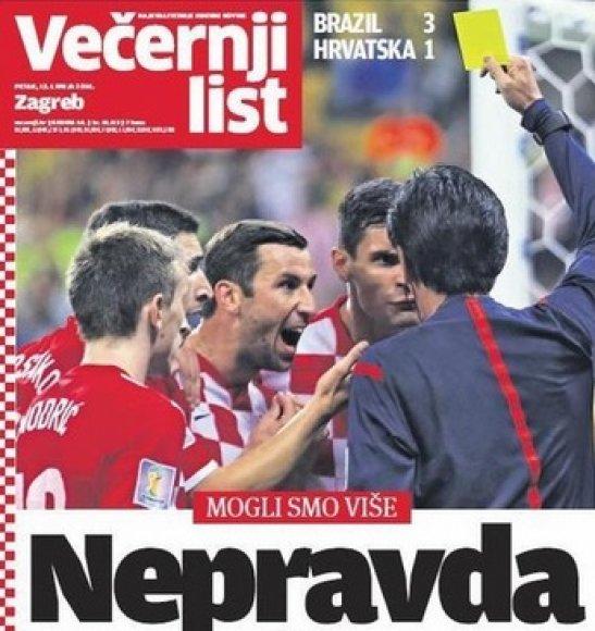 Kroatijos dienraščio pirmasis puslapis