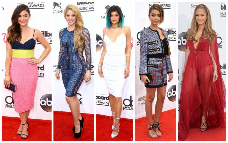 """Billboard"" apdovanojimų viešnios: Lucy Hale, Shakira, Kylie Jenner, Sarah Hyland ir Jennifer Lopez"