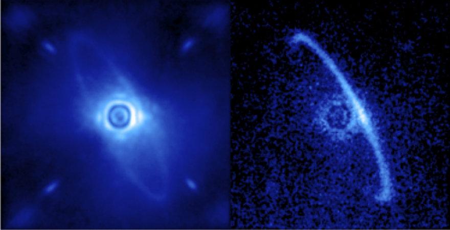 Kairiau – žvaigždės HR4796A vaizdas įprastoje šviesoje, dešiniau – poliarizuotoje šviesoje