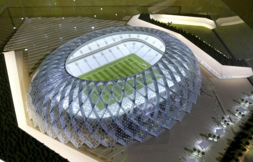 Vieno iš 2022 metų pasaulio futbolo čempionato Katare stadionų modelis.