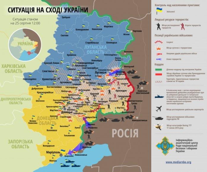 Situacija rytų Ukrainoje rugpjūčio 25 d.