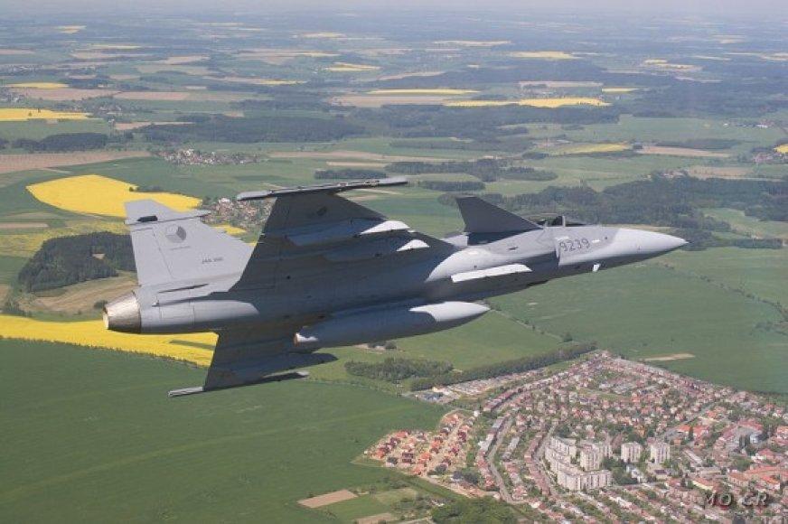 """Čekijos karinių oro pajėgų naikintuvas """"Saab JAS-39 Gripen"""""""