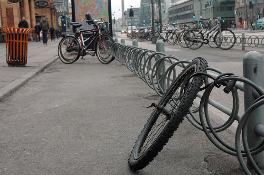 Dviračių stovai Kopenhagos centre