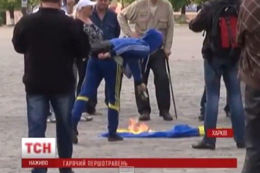 Charkove deginama Ukrainos vėliava