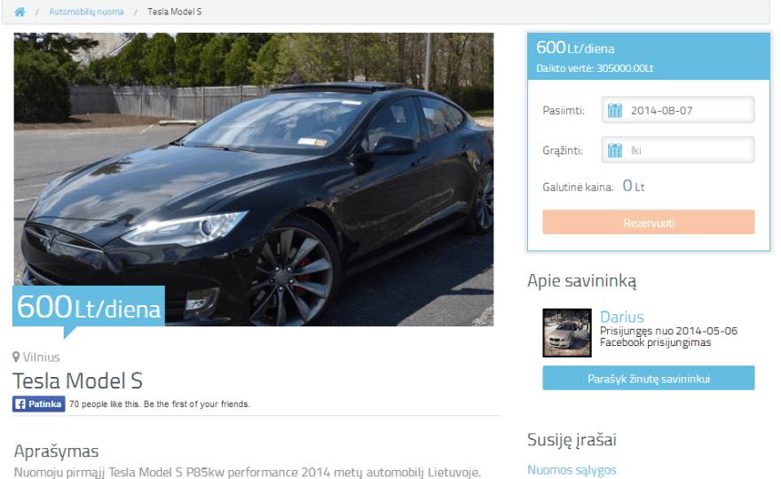 """Tesla Model S"" nuomos skelbimas"