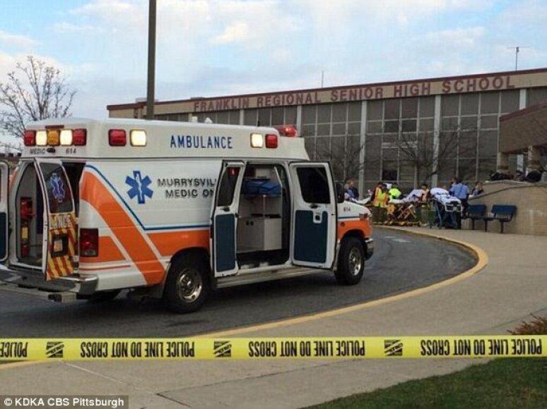 Mokyklą apsupo pareigūnai ir greitosios pagalbos automobiliai