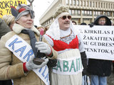 """""""Scanpix"""" nuotr./Mokytojų protesto akcija prie Seimo."""