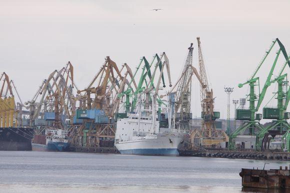 """Kranų """"miškas"""" – toks atvykėliams atrodo Klaipėdos uostas."""
