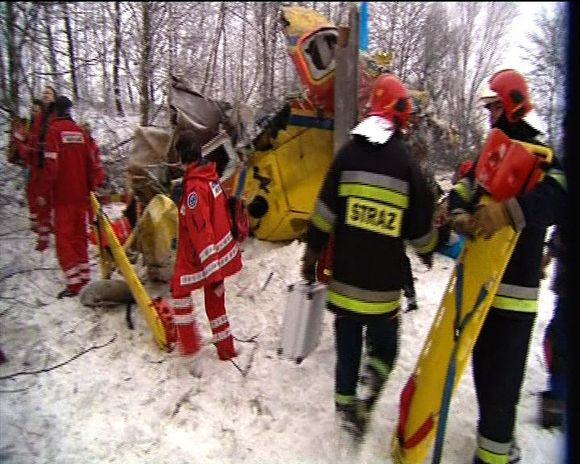 Lenkijos televizijos kadras iš įvykio vietos