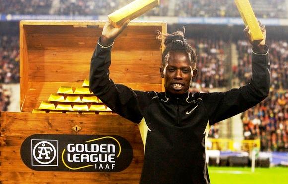 """Kenijos bėgikė Pamela Jelimo """"Aukso lygą""""  laimėjo 2008 metais."""