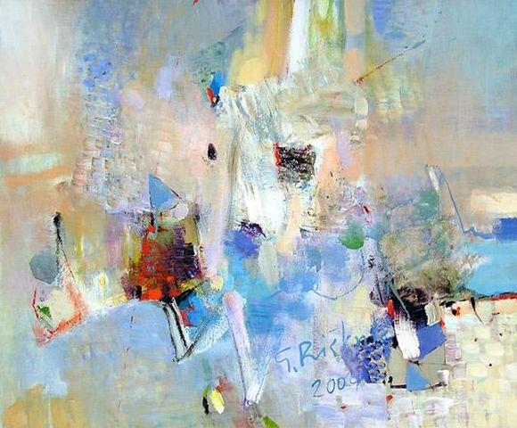 G. Riškutės tapybai būdinga švelni ir jautri abstrakčių elementų traktuotė.